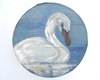 SWAN  hand painted Cheese box   New SERIES of Storage Vessels called WINGs