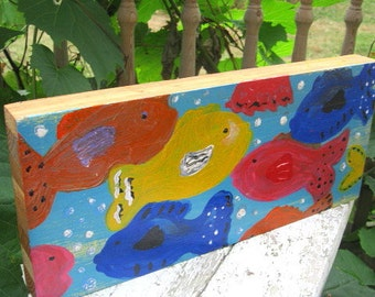 Primary FISH  Colorful Folk art hand painted wood block