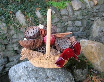 WINTER BASKET number ONE natural  floral arrangement  for the holidays