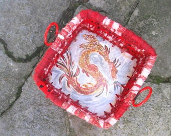 DAENERYS  hand painted coiled fabric BASKET tray with DRAGON