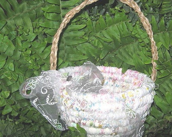 HANDFASTING  textile art flower girl BASKET