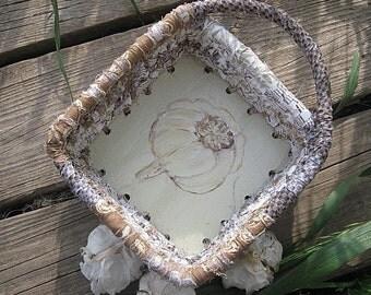 HERBS   a new Garden series of painted   baskets  GARLIC