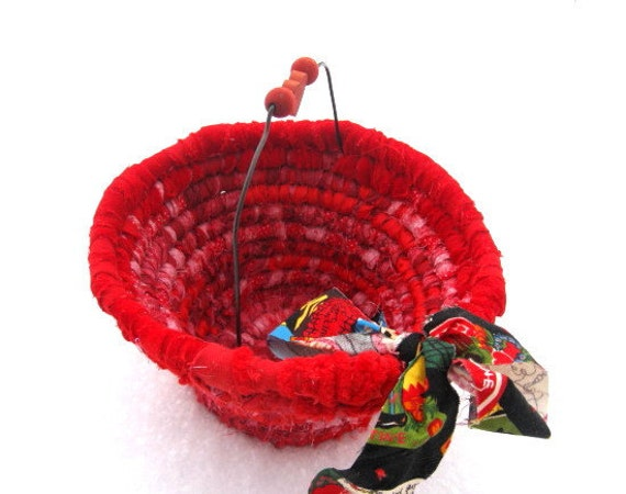 DEARHEART  hand coiled fabric art  BASKET with heart handle