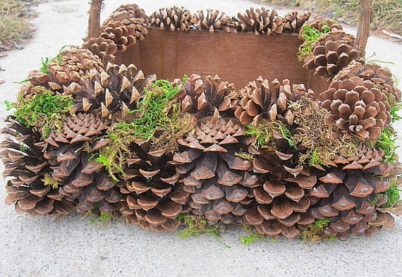 pine cone basket nature wedding natural woodland home decor
