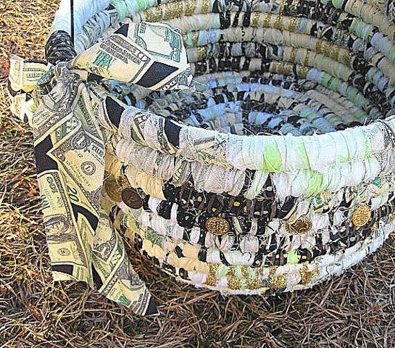 JACKPOT  textile art BASKET bucket tub with coin beads