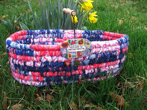 MOTHER'S DAY   textile art tote BASKET