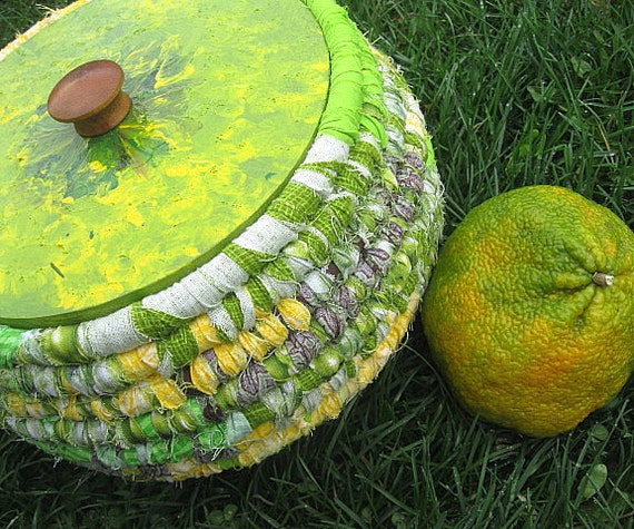 UGLI FRUIT  textile art BASKET storage tub with hand painted Lid
