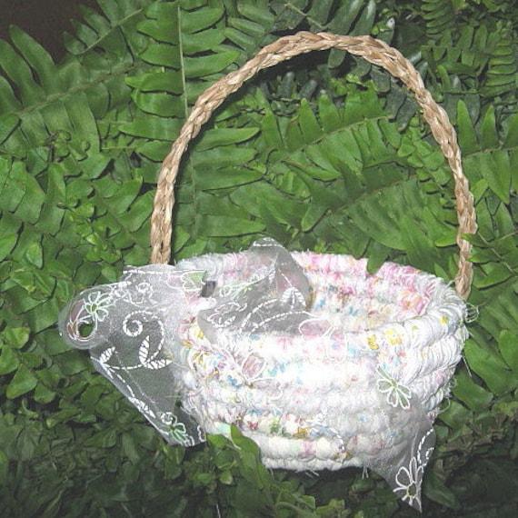 HANDFASTING  textile art flower girl BASKET