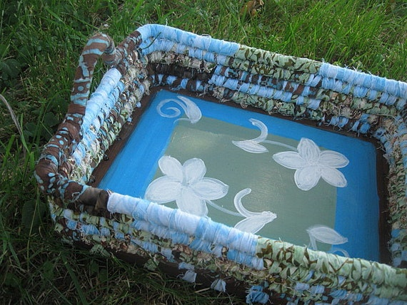 SPECIAL ORDER reserved for Georgia   hand painted coiled fabric mail BASKET tray