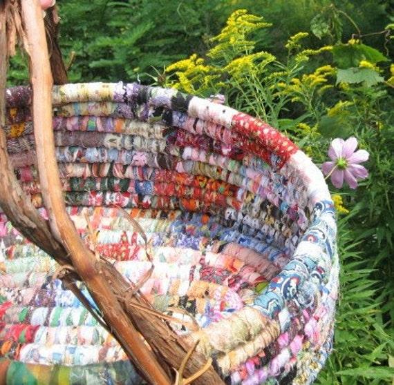 FOUR SEASONS multicolored textile art  floor BASKET