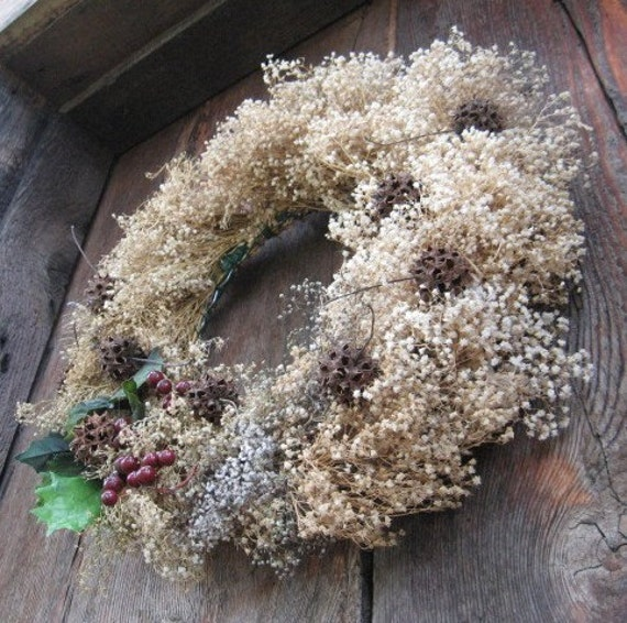 BABY's  BREATH WREATH  for holiday and year round decoration