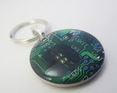 Recycled Circuit Board Keychain in Bright Green and Blue