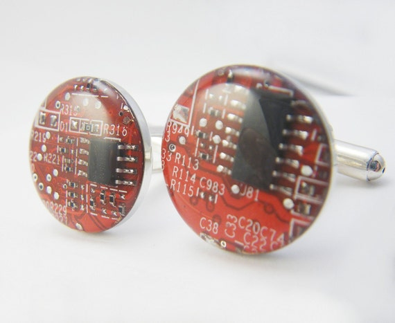 Red Circuit Cuff Links