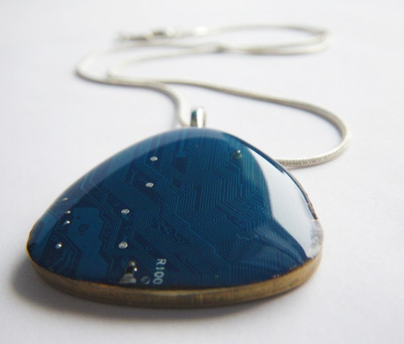 Triangular Recycled Circuit Board Pendant in Twilight Blue