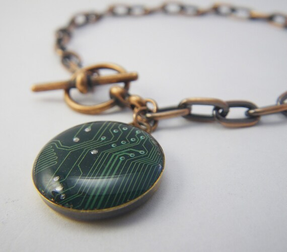Circuit Board Green Charm Bracelet in Copper Geek Jewelry Womans Bracelet