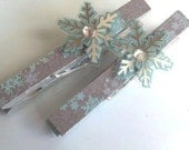 Magnetic Clothespins - Snowflakes