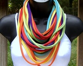 T Shirt Necklace- Tee Shirt Scarf - Circle Scarf - Multicolor - Rainbow