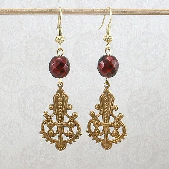 Earrings - Deco brass with vintage burgundy Czech crystal