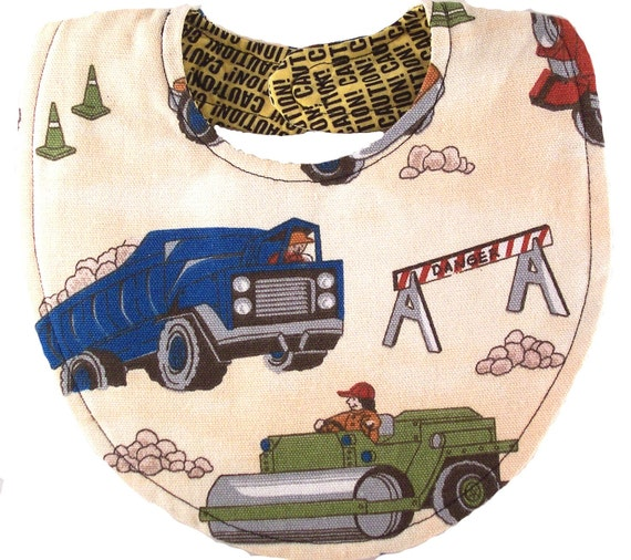 CAUTION  Messy Eaters and Construction site Adjustable Reversible Magnetic Baby Bib