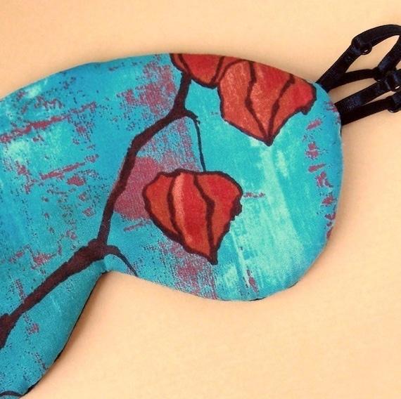 Silk Luxury Sleep Eye Mask Fully Adjustable in Red and Turquoise