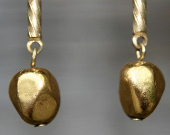 Brass Nugget  and Textured Bar Chain Upcycled Recycled Vintage Earrings