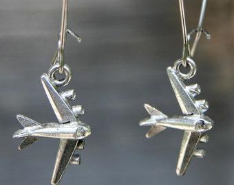 Airplane Earrings, Pewter - Lise