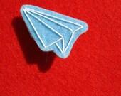 PAPER AIRPLANE felt pin\/patch- light blue