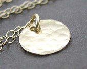 Statement Jewelry Dainty Gold Circle Necklace 14K Gold Textured Disc Fashion Jewelry - Delicacy