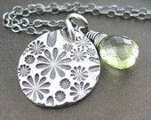 Daisy Necklace - Lemon Quartz, Fine and Sterling Silver