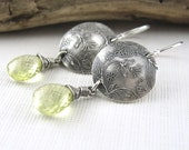 Lemon Quartz Sterling Silver Circle Earrings Designer Handmade Jewelry - Kristen No. 6 - Jennifer Casady