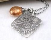 ON SALE Dainty Silver Charm Necklace Tangerine Mystic Topaz Square Pendant Gemstone Solo No. 10 - Jennifer Casady