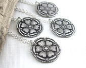 Bridesmaid Necklace Set Dainty Silver Circle Pendant Handmade Designer Jewelry Circle of Love Antique Button - Set of SIX