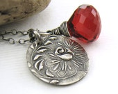 Charm Necklace Red Quartz Rose Pendant Blood Red Antiqued Fashion Jewelry - Solo No. 49 - Jennifer Casady