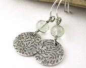 Green Amethyst Earrings Floral Sterling Silver Gemstone Antiqued Spring Fashion Dangle Handmade Designer Fashion Jewelry Under 50