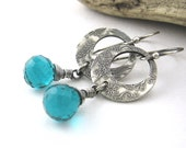 Teal Quartz Hoop Earrings Sterling Silver Enchanted Garden Hoops Circle Handmade Fashion Jewelry - Erin No. 4