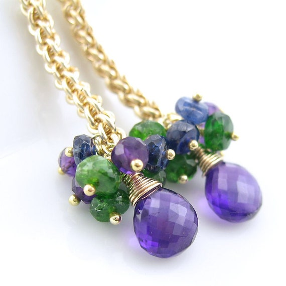 ON SALE 25% OFF Royalty Tassels Earrings - Amethyst, Chrome Diopside, Kyanite, 14K Gold Fill and Chainmail