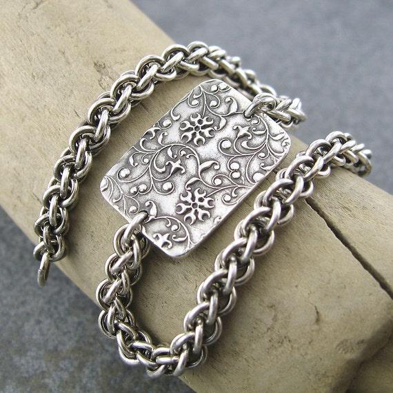 Chainmail Bracelet Sterling Silver Handmade Antiqued Jewelry - Series No. 1 - Designer Fashion Jewelry Jennifer Casady