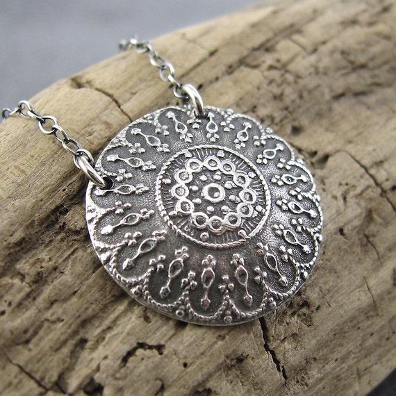 Antique Button Necklace Dainty Silver Circle No. 1 Elegant Doily Handmade Designer Fashion Jewelry