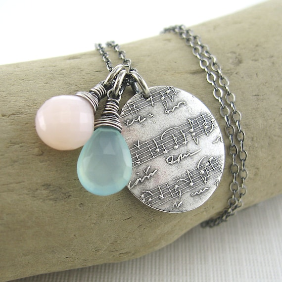 ON SALE 25% OFF Duets Necklace No. 13 - Pink Opal, Chalcedony, Fine and Sterling Silver