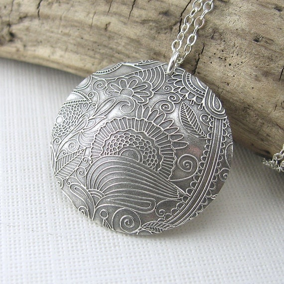 Silver Circle Necklace Wild Sunflower Meadow Antiqued Pendant Handmade Jewelry - Unadorned Juliet No. 4 - Jennifer Casady
