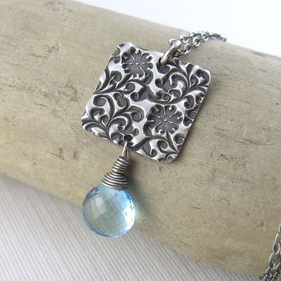 December Birhtday Birthstone Necklace Blue Topaz Antiqued Wire Wrapped Gemstone - Amy No. 1 - Jennifer Casady