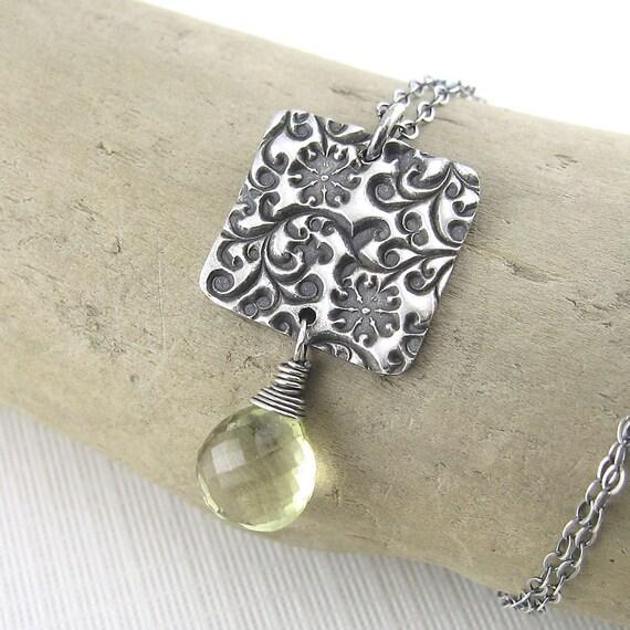 CLEARANCE SALE Silver Square Necklace Gemstone Flower Antiqued Lemon Quartz - Amy No. 6 - Designer Jewelry