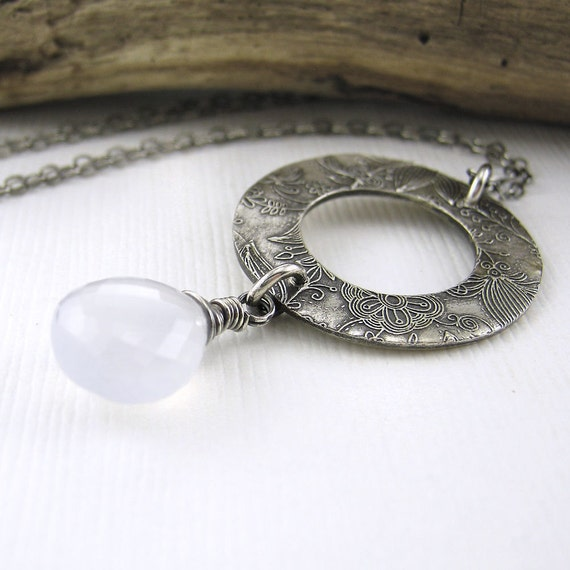 Floral Jewelry Natural Chacedony Necklace Silver Circle Winter Wonderland Fashion Jewelry - Vivian No. 1 - Jennifer Casady