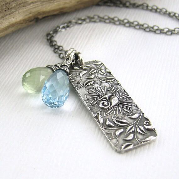 Fashion Jewelry Electric Blue Quartz Climibing Roses Bar Sterling Silver - Duets No. 59 - Jennifer Casady