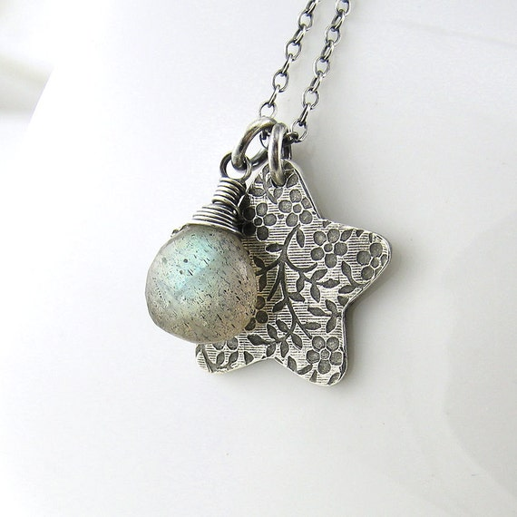 Labradorite Necklace Silver Star Charm Pendant Romantic Flower and Lace Designer Fashion Jewelry - Solo No. 42 Under 50