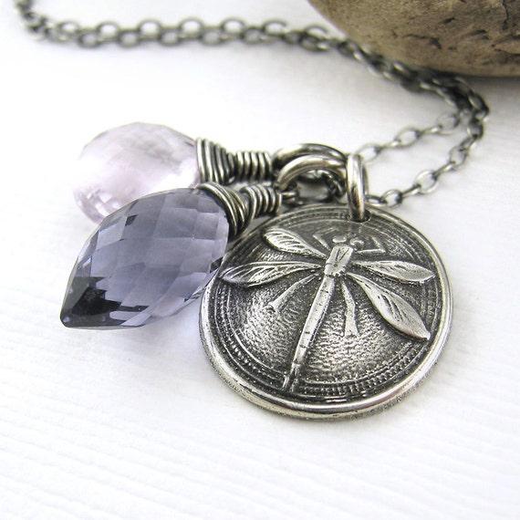 Dragonfly Necklace Gemstone Charm Necklace Spring Fashion Iolite Quartz Pink Amethyst Fashion Jewelry - Duets No. 69