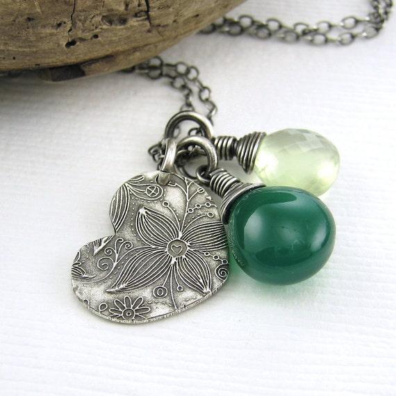 CLEARANCE Green Onyx Prehnite Heart Charm Necklace Spring Jewelry Wire Wrapped Fashion Jewelry - Duets No. 72 - Jennifer Casady