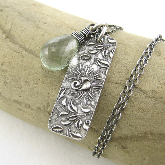 CLEARANCE Spring Jewelry Green Mystic Quartz Climibing Roses Rectangle Bar Sterling Silver - Solo No. 46 - Jennifer Casady