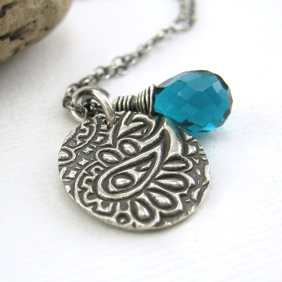 Teal Quartz Charm Necklace Sterling Silver Funky Paisley Designer Jewelry Spring Fashion Jewelry - Solo No. 53 - Jennifer Casady