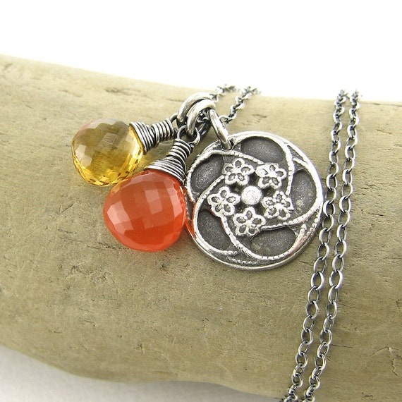 CLEARANCE Handmade Charm Necklace Sterling Silver Gemstone Jewelry Yellow Citrine November Birthstone Orange Carnelian - Duets No. 85